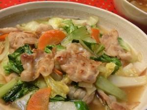 ノンストップ!の白菜とチンゲン菜の豚バラ塩あんかけ